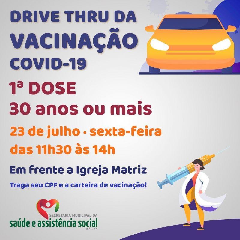 Foto de capa da notícia DRIVE THRU PARA VACINAÇÃO EM ADULTOS ACIMA DE 30 ANOS