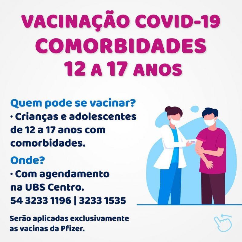 Foto de capa da notícia INICIADA A VACINAÇÃO PARA COMORBIDADES DE 12 À 17 ANOS