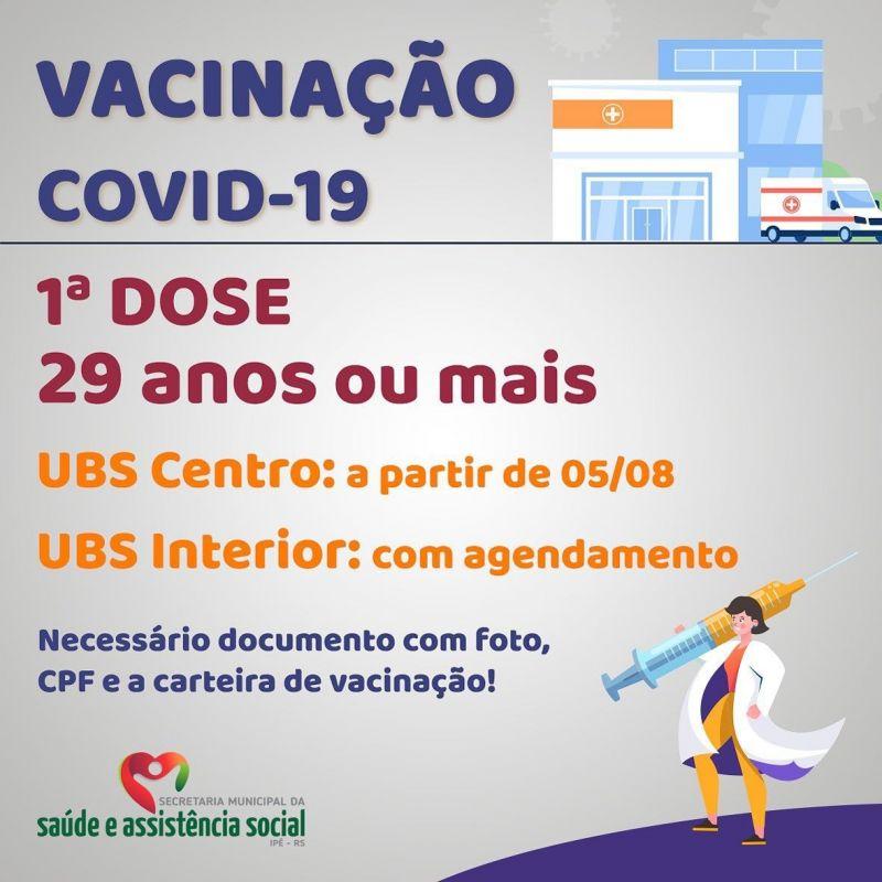 Foto de capa da notícia INICIA AMANHÃ (05) VACINAÇÃO EM ADULTOS ACIMA DE 29 ANOS NA UBS CENTRO
