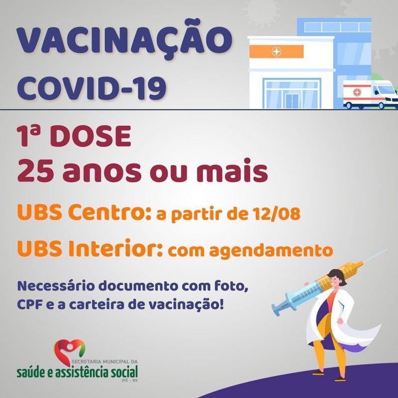 Foto de capa da notícia INICIA VACINAÇÃO EM ADULTOS ACIMA DE 25 ANOS NA UBS CENTRO