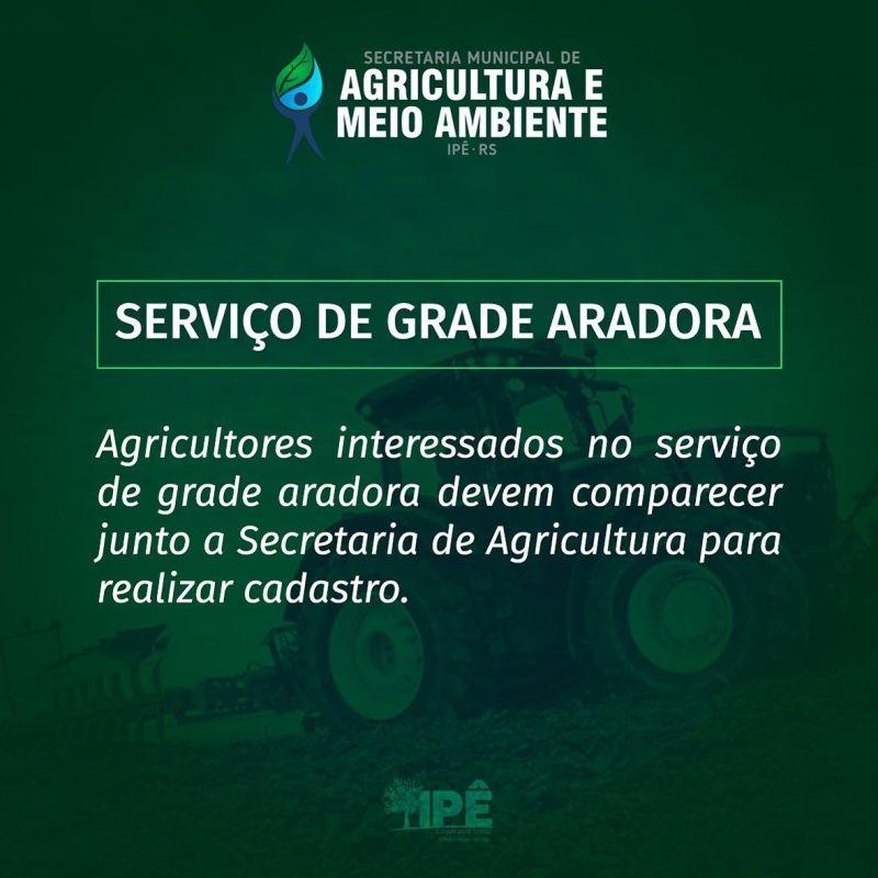 Foto de capa da notícia SECRETARIA DE AGRICULTURA DISPONIBILIZA SERVIÇO DE GRADE ARADORA