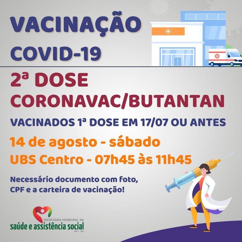 Foto de capa da notícia SEGUNDA DOSE PARA VACINADOS ATÉ 04/06 E 17/07 ACONTECE NESTE SÁBADO (14)