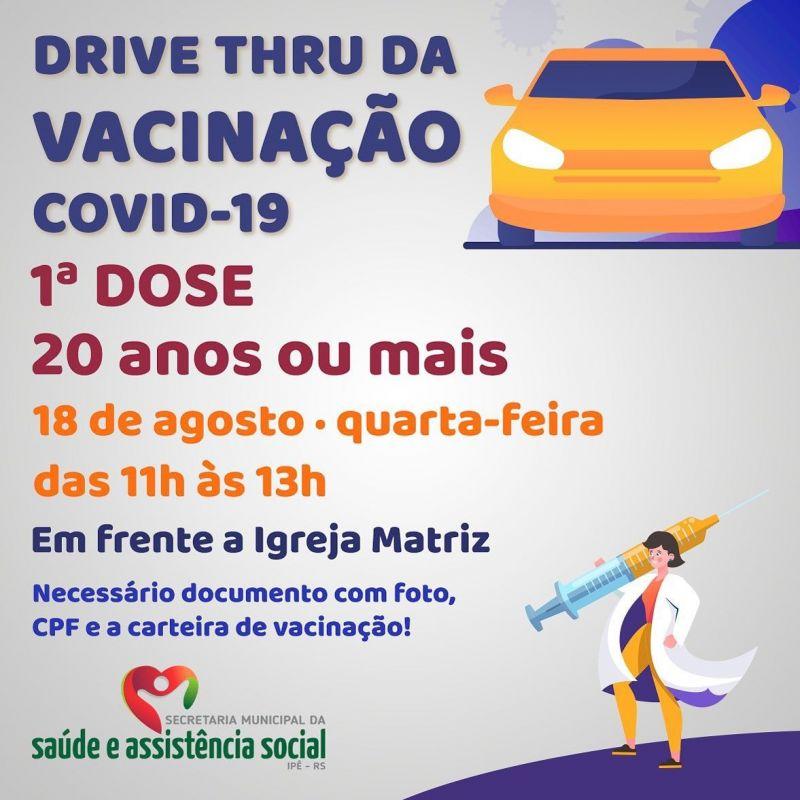 Foto de capa da notícia DRIVE THRU PARA VACINAÇÃO EM ADULTOS ACIMA DE 20 ANOS