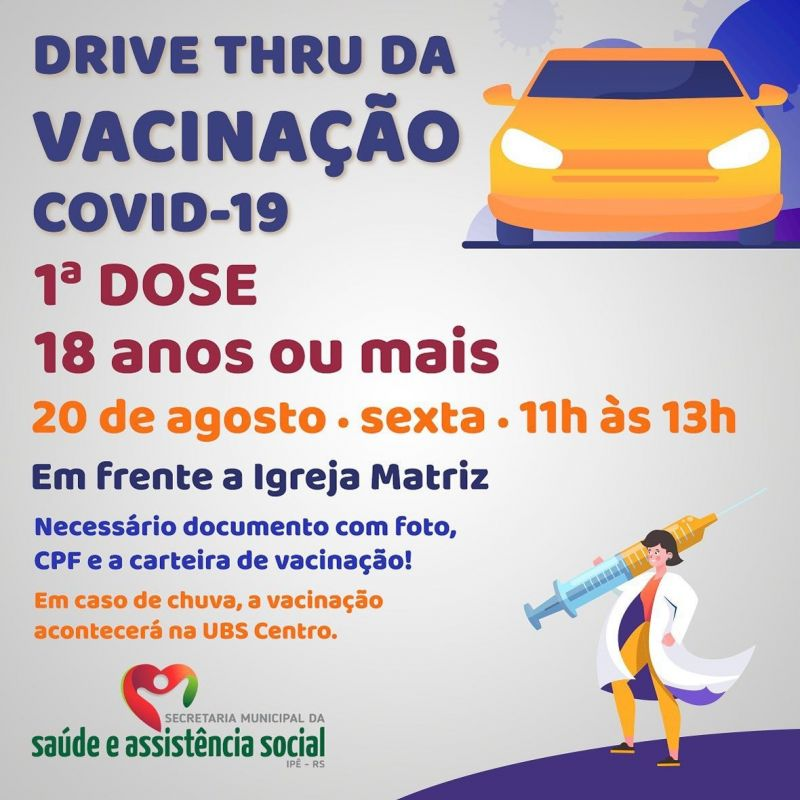 Foto de capa da notícia AMANHÃ TEM DRIVE THRU PARA VACINAÇÃO EM ADULTOS ACIMA DE 18 ANOS