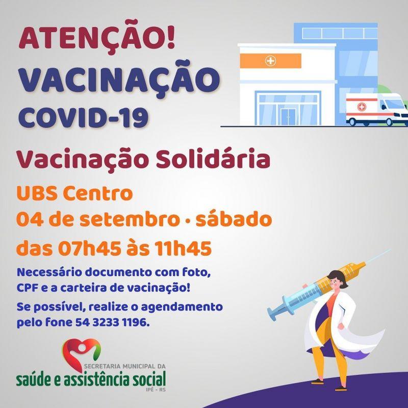 Foto de capa da notícia VACINAÇÃO SOLIDÁRIA ACONTECE NESTE SÁBADO NA UBS CENTRO