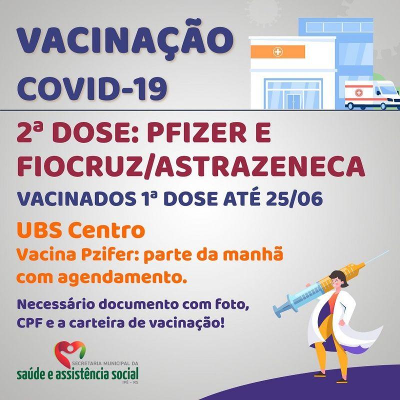 Foto de capa da notícia: SEGUNDA DOSE PARA VACINADOS ATÉ 25/06 CONTINUA