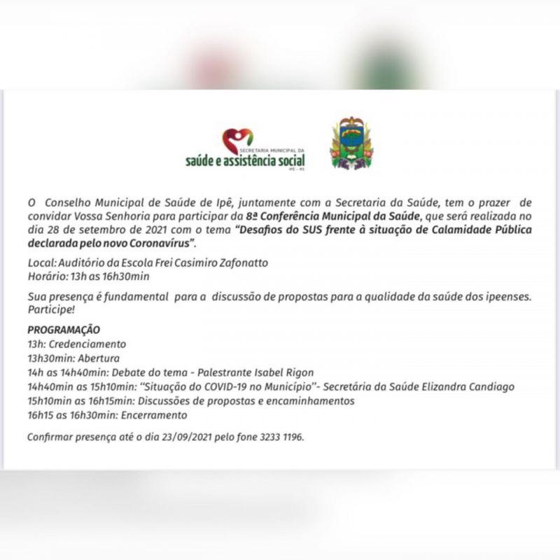 Foto de capa da notícia CONFERÊNCIA MUNICIPAL DA SAÚDE