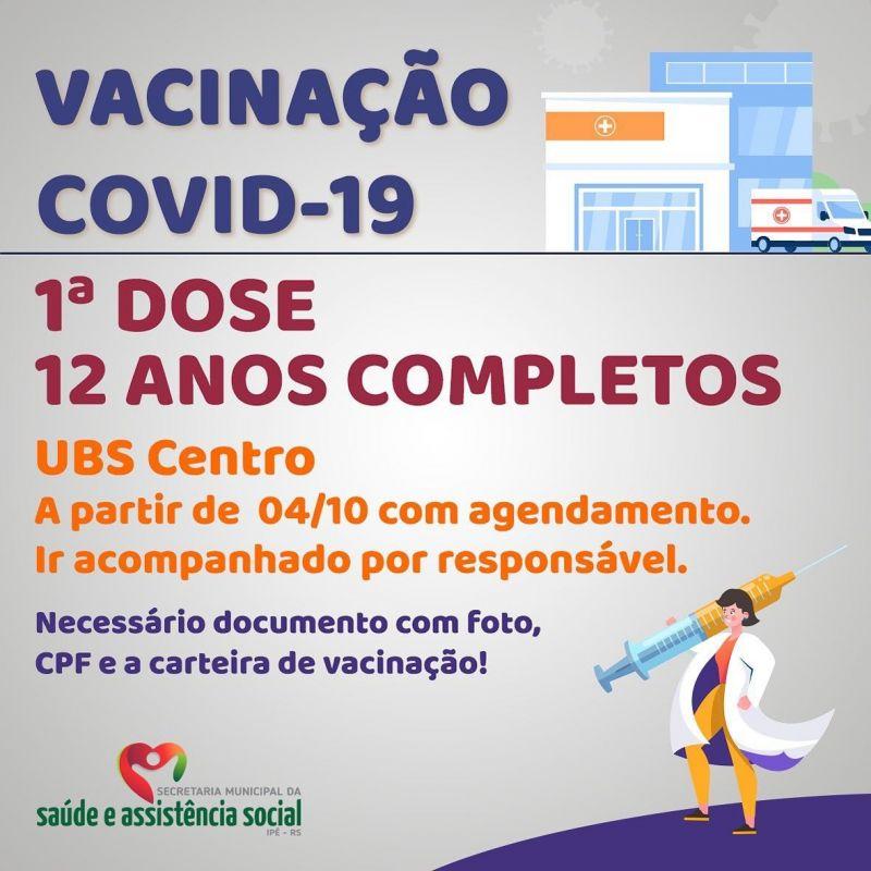 Foto de capa da notícia SEGUNDA (04) INICIA A VACINAÇÃO PARA JOVENS DE 12 ANOS