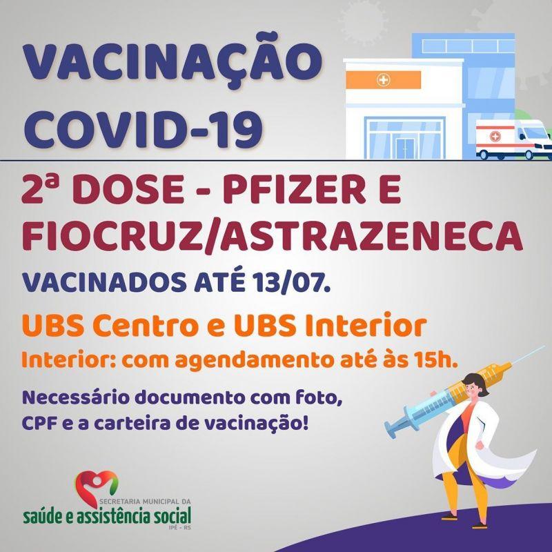 Foto de capa da notícia SEGUNDA DOSE PARA VACINADOS ATÉ 13/07