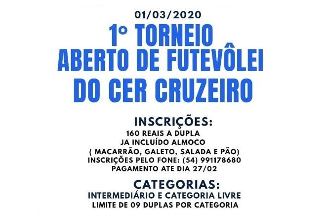 1º Torneio Aberto de Futevôlei do C.E.R Cruzeiro será realizado neste domingo