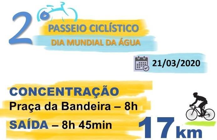 Passeio ciclístico alusivo ao Dia Mundial da Água acontece no dia 21 de março