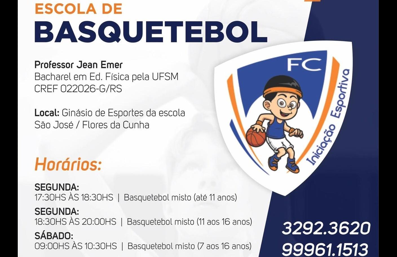 Escola FC Iniciação Esportiva oferece aulas de basquetebol