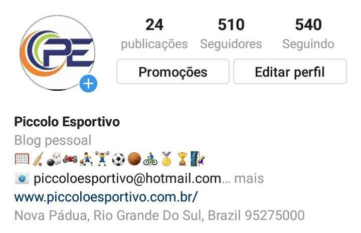 Blog Piccolo Esportivo amplia interação com leitores e agora está também no Instagram