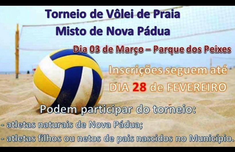 Prorrogadas as inscrições do torneio de vôlei misto de Nova Pádua