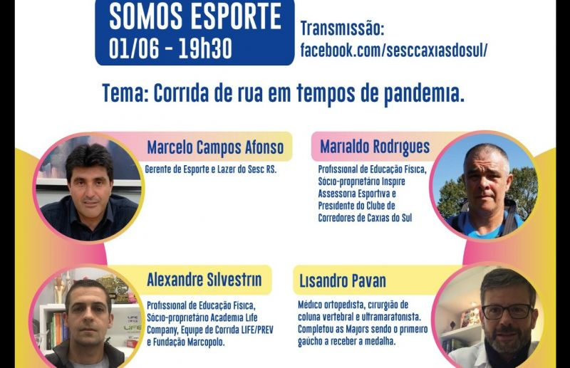 Sesc Caxias do Sul realiza Lives voltadas ao público esportivo