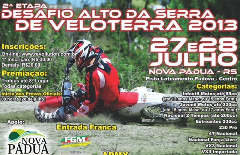 Nova Pádua vai sediar 2ª etapa do desafio de veloterra